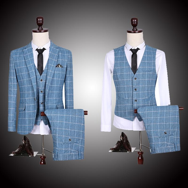 Высокое качество 2015 мода дизайнерский бренд мужские формальный костюм ( куртка + брюки + жилет ) сетка свадебные костюмы люди куртка пиджак lcm360
