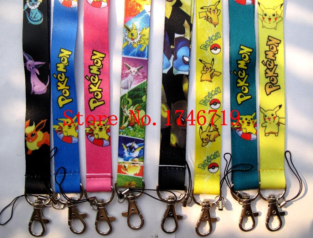 Free Shipping 20 Pcs Pokemon Lanyards Neck Strap Keys Camera ID Card Lanyard Mobile Phone Neck Straps PO-12(China (Mainland))