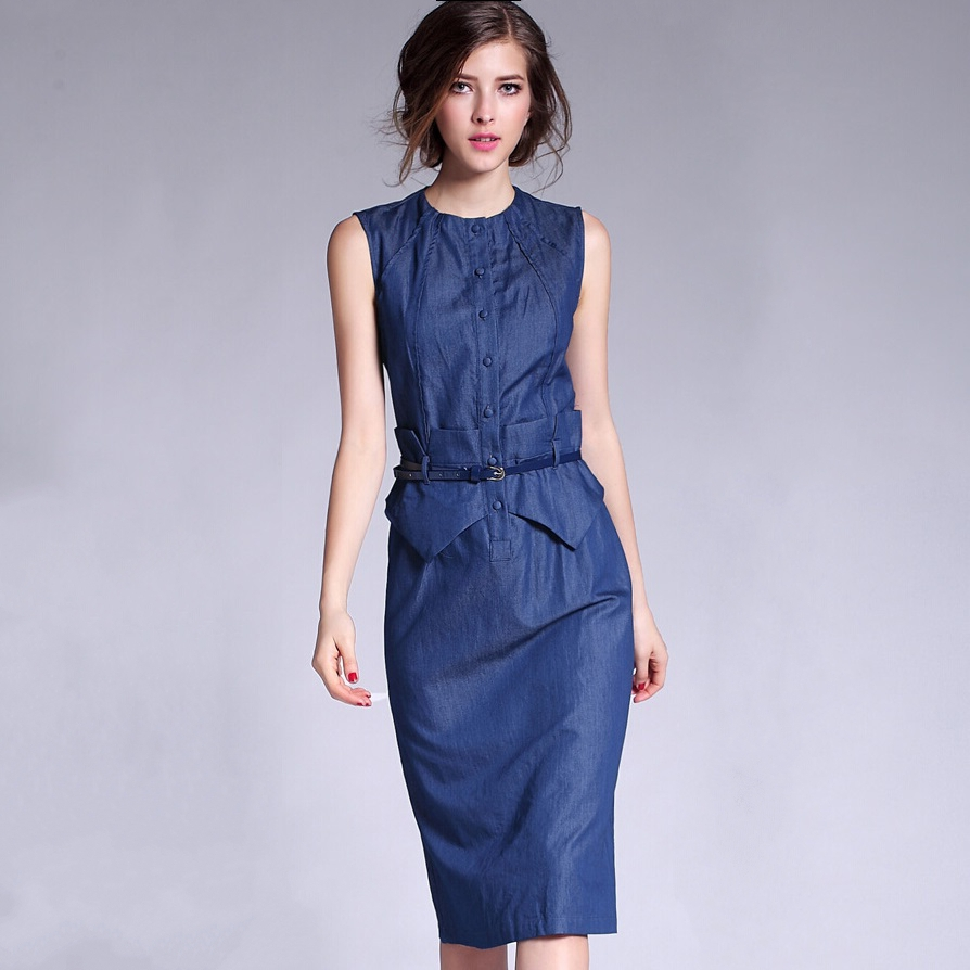 Original Sleeveless Denim Dress Denim Summer Dresses For Women
