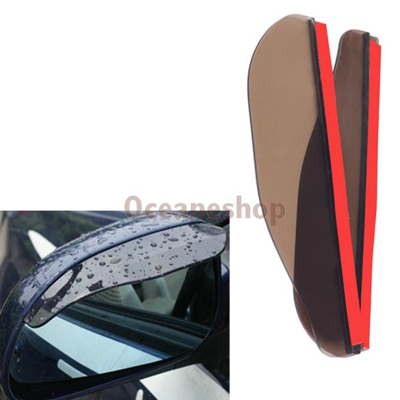 2PCS Car Rear View Mirror Flexible Anti Rain Guard Shade Auto Weatherstrip