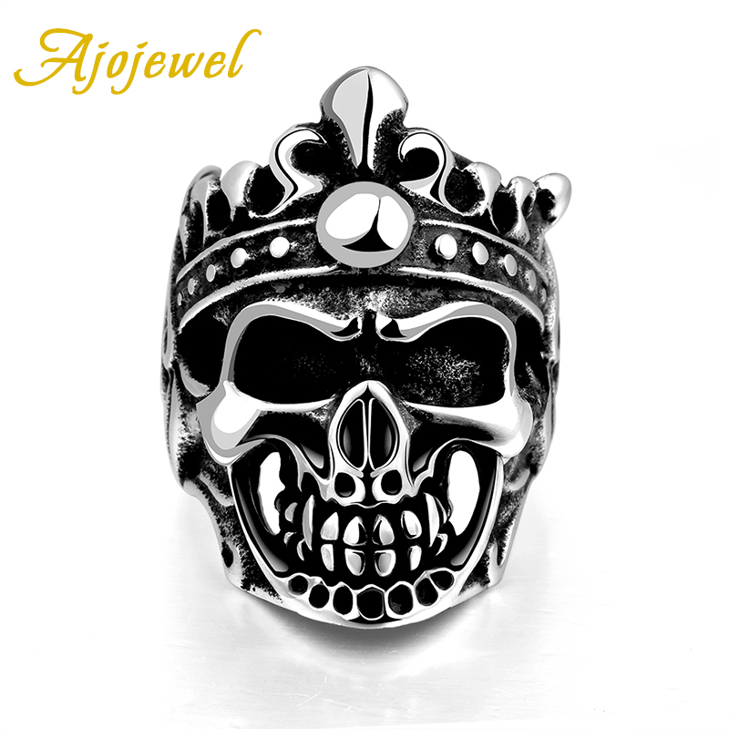 High Quality Brand Jewelry Skull Head Accessories Vintage Skeleton Stainless Steel Rings For Men(China (Mainland))