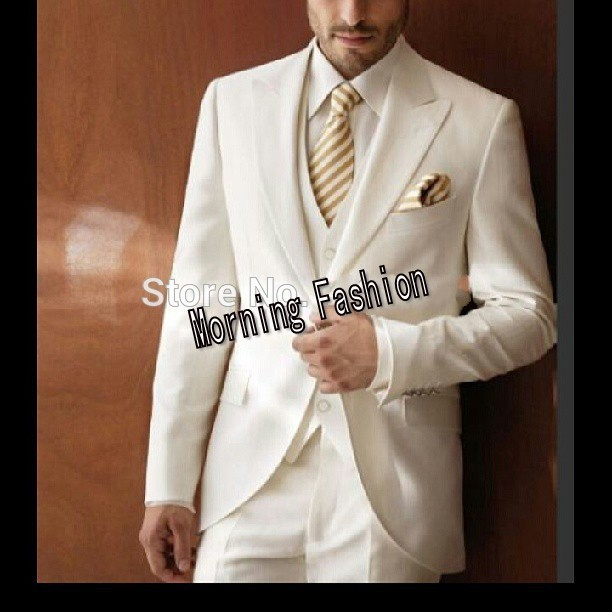 Elegant Ivory Wedding Groom Wear gangster jacket Smoking Dinner jacket/Wedding Suits For Men/Best man's 3 Peices Suits terno(China (Mainland))