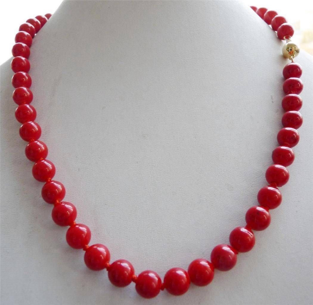 Hot sale Free Shipping>>>> % Real 10mm Red Sea Coral Round Bead Necklace 18''(China (Mainland))