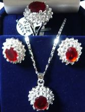 Hot selling free shipping***** Charming!14KGP Red Rhinestone necklace Earring ring Sets(China (Mainland))