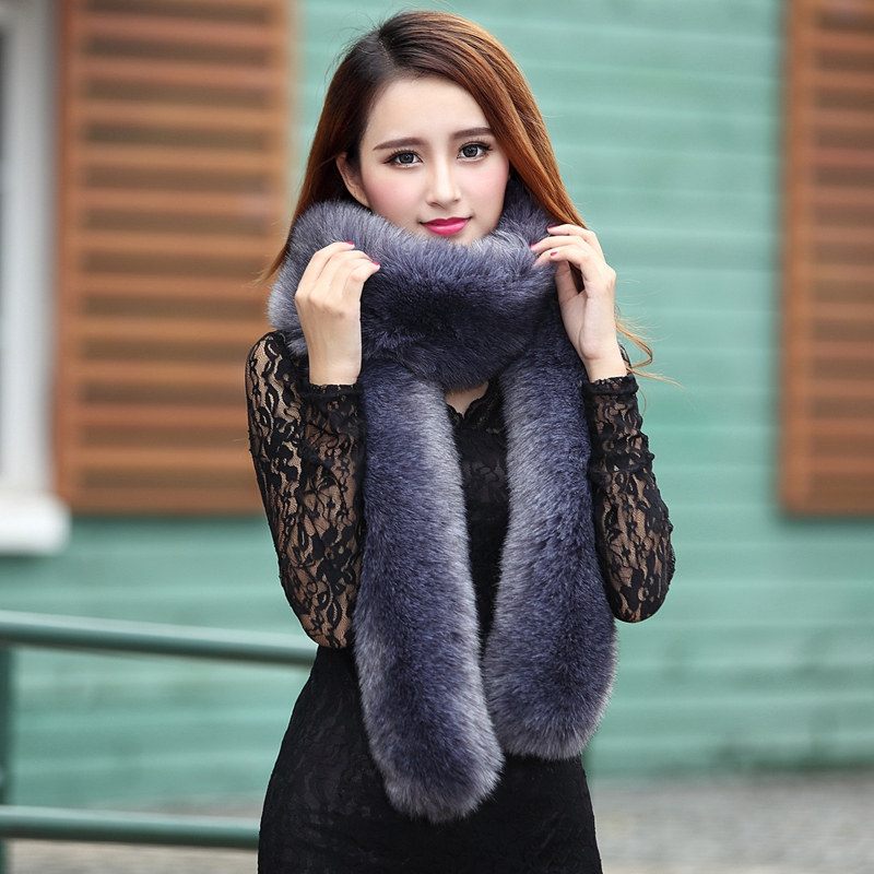 New women fall and winter faux rabbit fur long scarf, Lady elegant temperament accessories shawl Candy color girls plush scarves(China (Mainland))