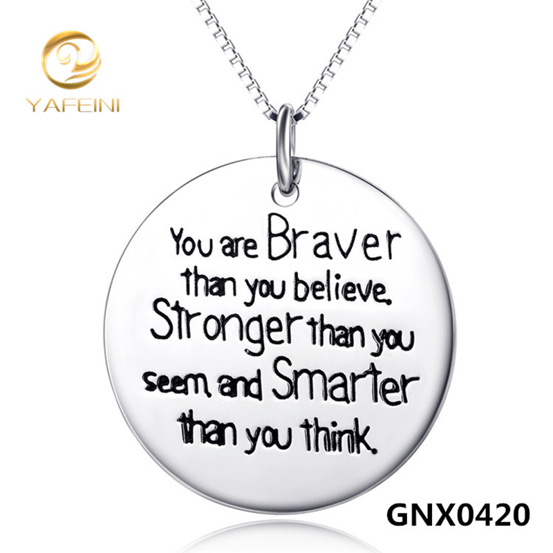 Free Shipping --Genuine 925 Sterling Silver Pendant Necklace Round Text Necklace s925 Jewelry GNX0420