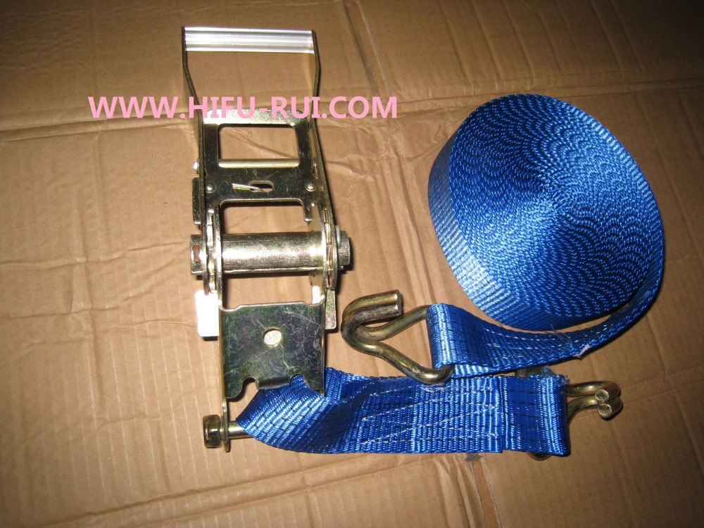 Free shipping! 3000kgx5M cargo transporation ratchet tie down cargo lashing strap with hook(China (Mainland))
