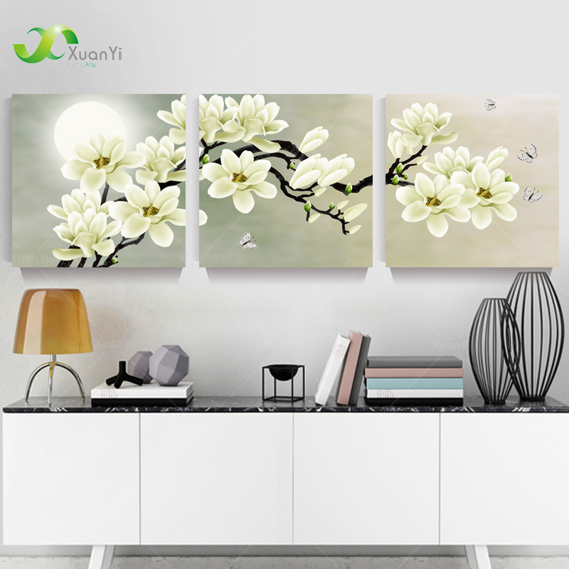 Buy 3 panel modern abstract flower painting on canvas wall art cuadros flowers - Picture wall decor ...