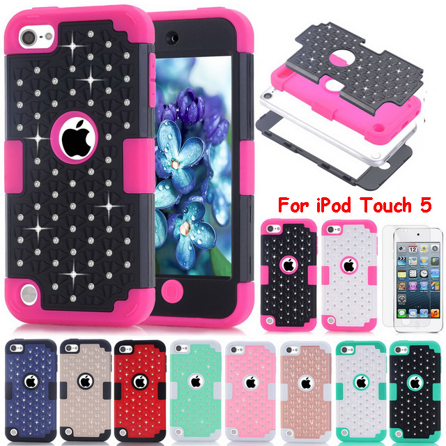 Fundas For Apple iPod Touch 5 Case Diamond Bling Design Hybrid Rubber + PC Robot Armor Case Touch5 Phone Cases Hard Back Cover(China (Mainland))
