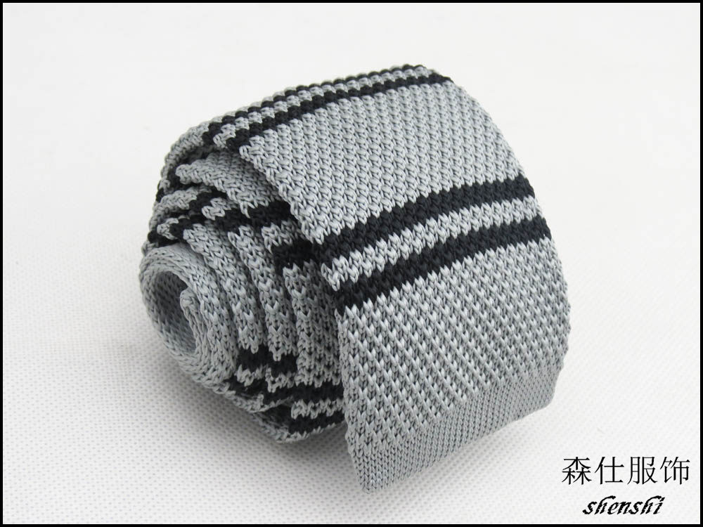 Knit Necktie Pattern : knitted tie/gray/black double horizontal stripe pattern design/men accessorie...