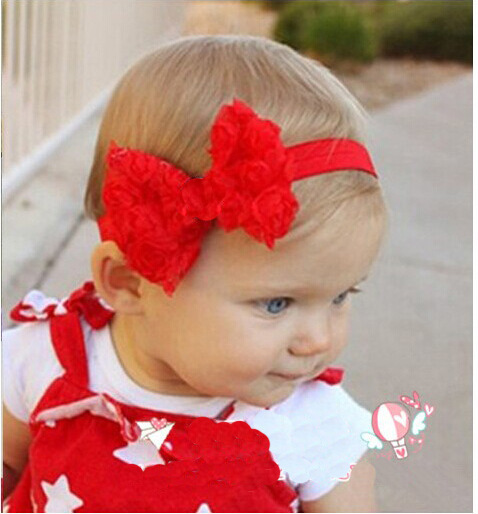 Wedding Decoration Lolita Style Rose Flower Bow Festival Party Headband Infant Elasticity Hair Band Floral Hair Accessoies H019(China (Mainland))