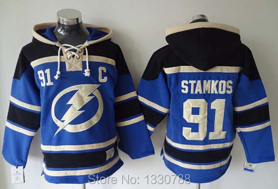 2015 New #91 Steven Stamkos Hoodie Sweatshirt Blue Navy Premier Stitched Mens Tampa Ice Hockey Hoodies M-XXXL