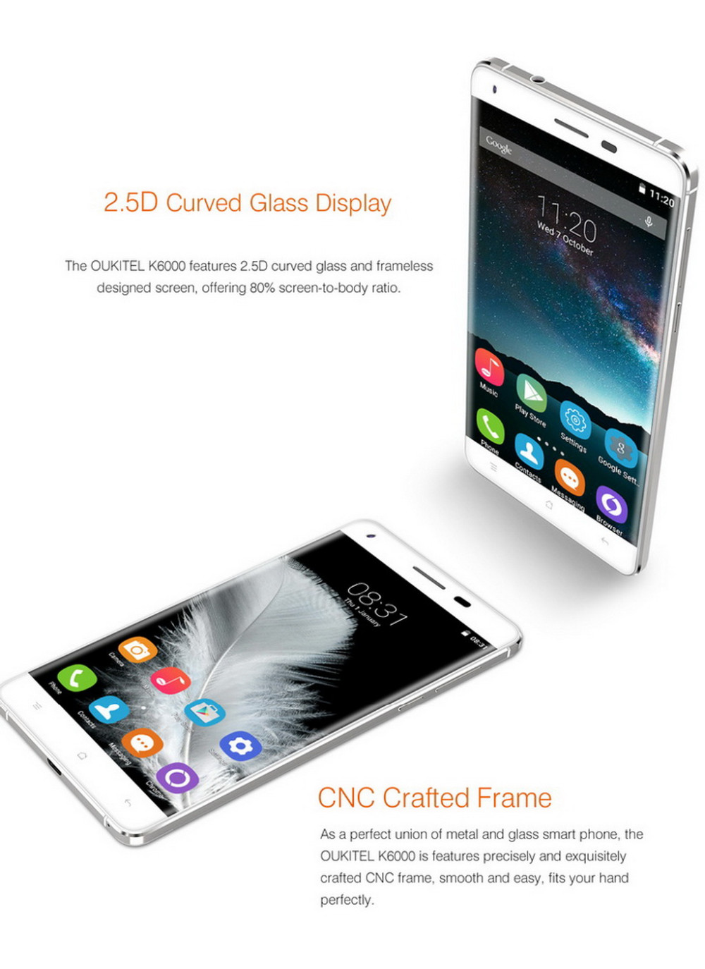 Original OUKITEL K6000 Android 5.1 Smartphone MT6735P 1280 x 720 2G RAM 16G ROM Mobile Phone 5.5 Inch 6000mAh 4G LTE Cell Phone