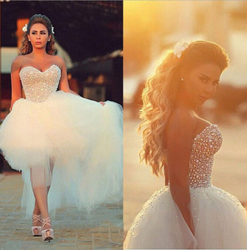New white ivory sweetheart pearl beadings high low wedding for Tulle high low wedding dress