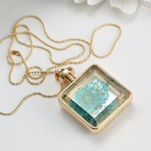 2015 Vintage Glass Collares Blue Dried Flower Crystal Square Pendant Necklace Gold Chain Statement Necklace Women