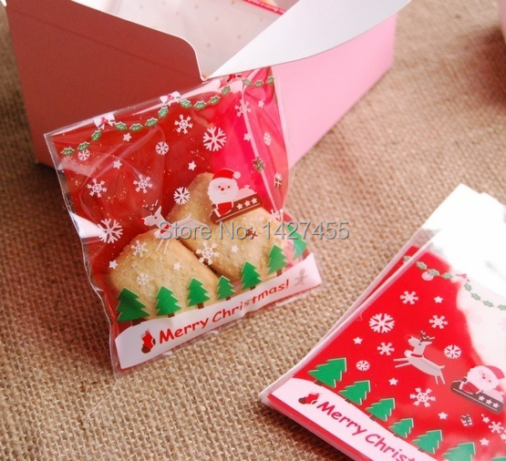 free shipping 300pcs/lot Christmas Sledge Cookie Biscuit Gift Packing Bags 10*10CM+3CM,(China (Mainland))