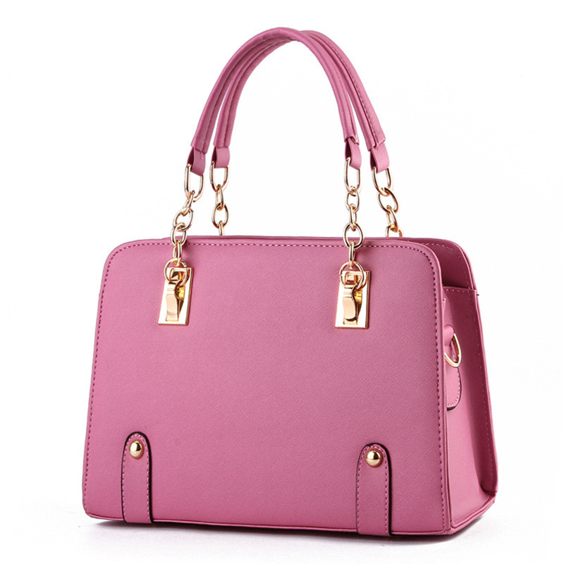 Fashion PU Women Handbag Metal Chain Shoulder Bag Coral Pink Tote Clutch Crossbody Messenger Zipper(China (Mainland))