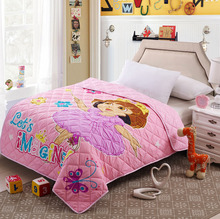 100% microfiber fabric summer quilts/comforter quilts/ cartoon quilted cute girl free shipping 150x200cm for children(China (Mainland))