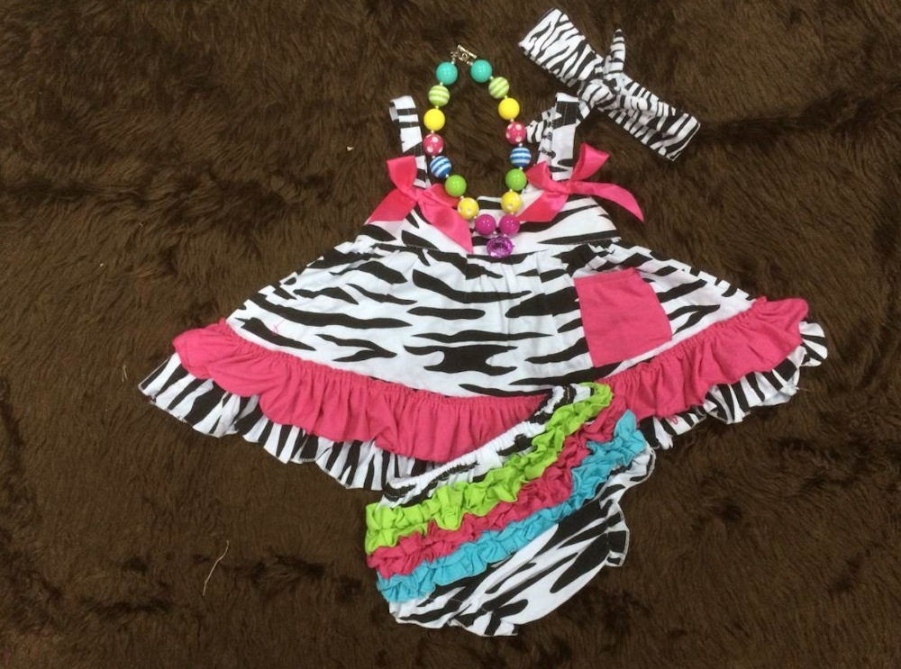 2015 rainbow zebra baby girls swing top set swing outfits with matching necklace and headband set(China (Mainland))