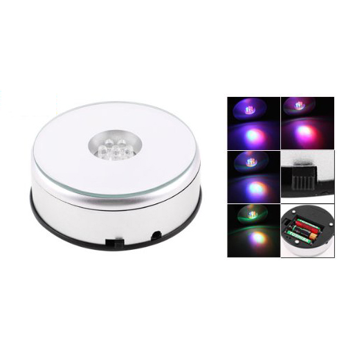 Best selling 7 LED Light Stand Turntable Rotating Base for Display Crystals Glass(China (Mainland))