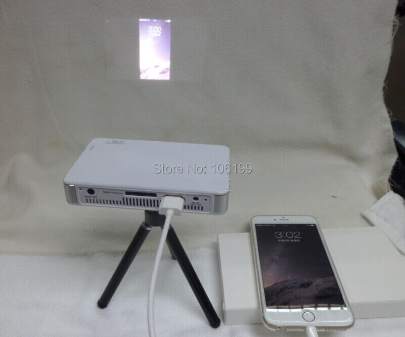 2015 new home theater mini full hdmi led portable pocket for Iphone 6 projector