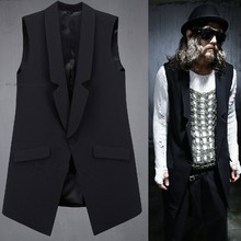 * Free shipping * Latest Slim material irregularities serge suit brought personality tide men's vest(China (Mainland))