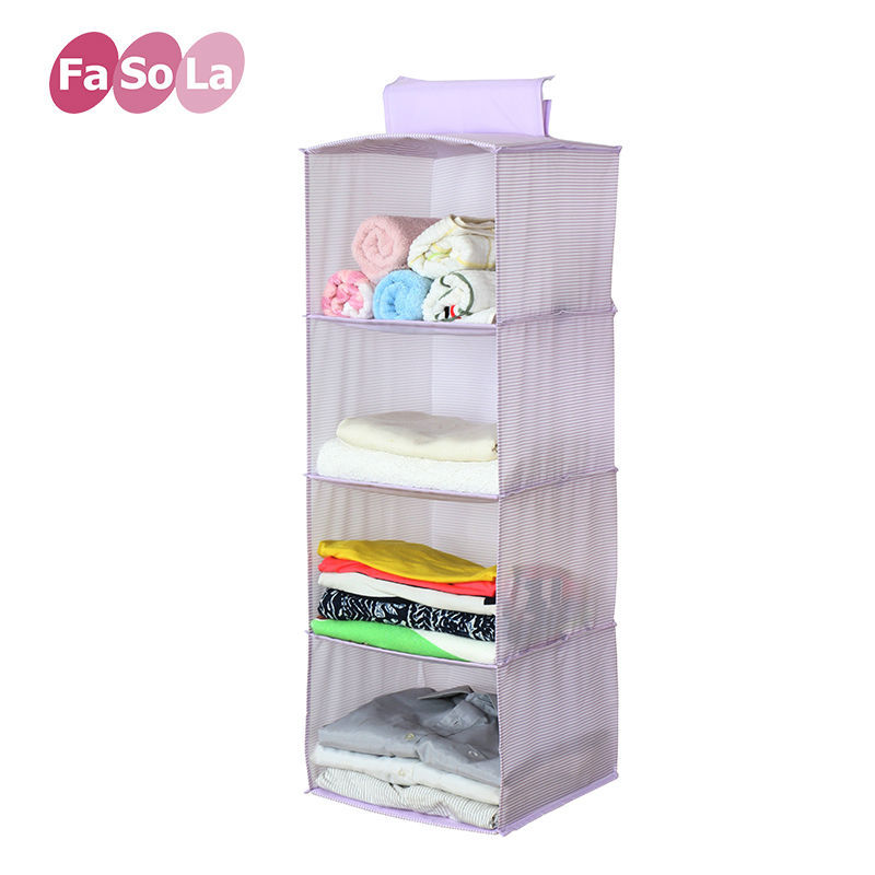 FaSoLa Foldable Hanging Storage Box Washable Clothing Storage Container 4 Cells Purple(China (Mainland))