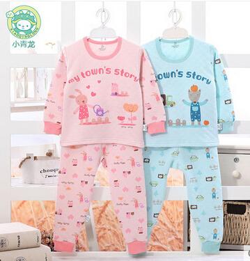 Hot baby clothing kids pajama sets pyjamas for girls sleepwear 100%cotton Full-sleeved 2T~12T children's sleepwear Free shipping(China (Mainland))