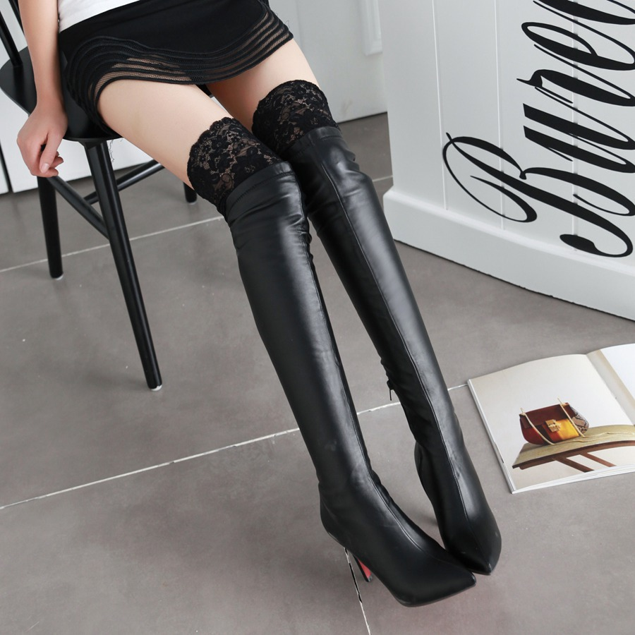 fashion thin heels tight thigh boots pointed