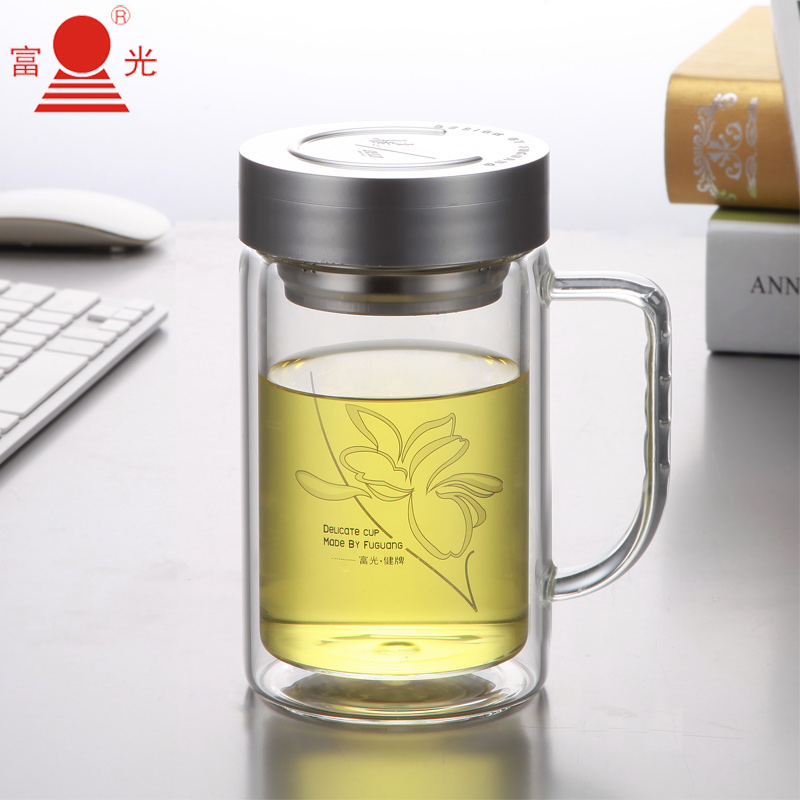 Double layer glass cup transparent tea cup with lid glass water cup large capacity 520ml cup(China (Mainland))
