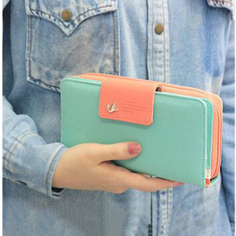 2016 Women's Wallet Button Leather Faux Clutch Classic Cute Lady Purse Long Handbag High Quality Candy Color Card Holder N819(China (Mainland))