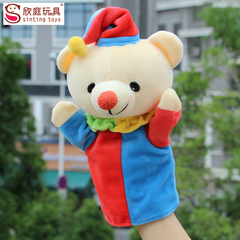 2015 new arrival lovely bear toys large hand puppet baer for kids plush doll bear finger puppets sesame street hand puppet(China (Mainland))