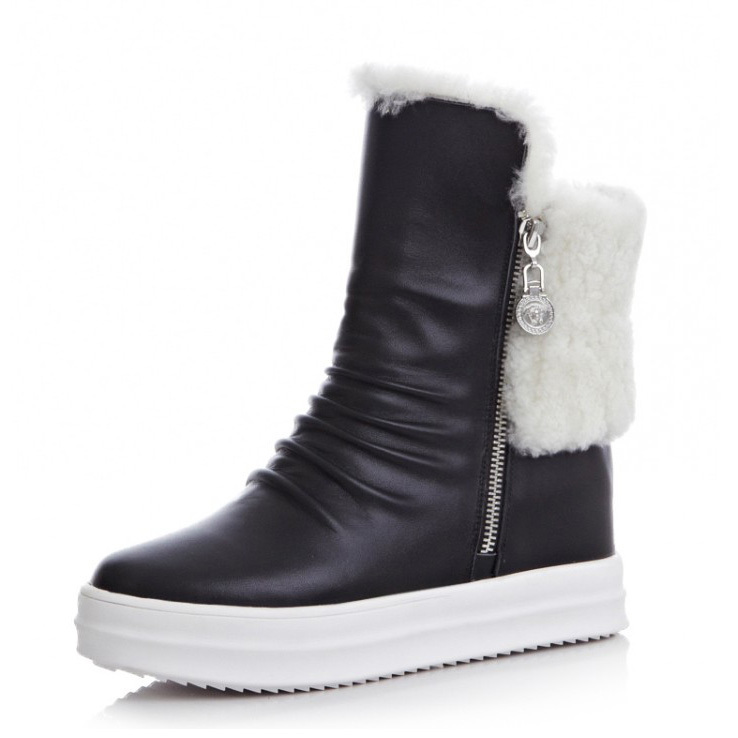 2015 New shoes women Autumn winter Boots Platforms wedges Ankle Boots Genuine leather Motorcycle snow Boots Metal Decoration<br><br>Aliexpress