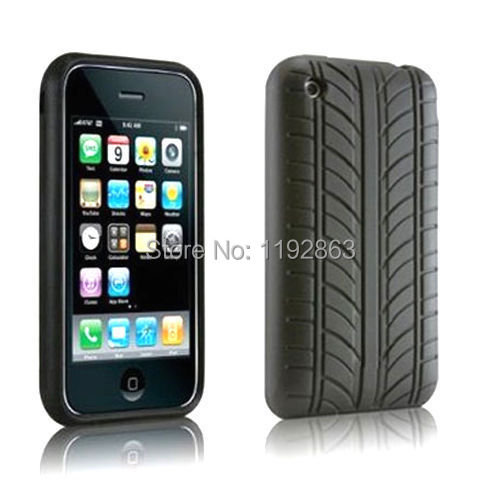 Black Tire Silicone Skin Gel Back Phone Case Cover For Apple iPhone 3 3G 3Gs(China (Mainland))