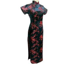 Black-Red Traditional Chinese Dress Women's Satin Long Cheongsam Qipao Flower Size S M L XL XXL XXXL 4XL 5XL 6XL