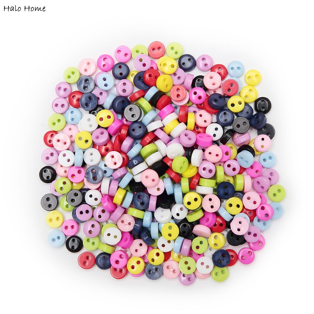 Colorful 100pcs Mixed 2 Hole Resin Cute Supper Mini Buttons Sewing Round Decor Card Making DIY Lovely Home Decor Tools 6mm(China (Mainland))
