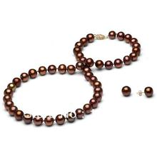 Wholesale Pearl Jewelry Set AA 7-8MM Brown Color Natural Freshwater Pearl Necklace Earrings Top Quality New Free Shipping(China (Mainland))