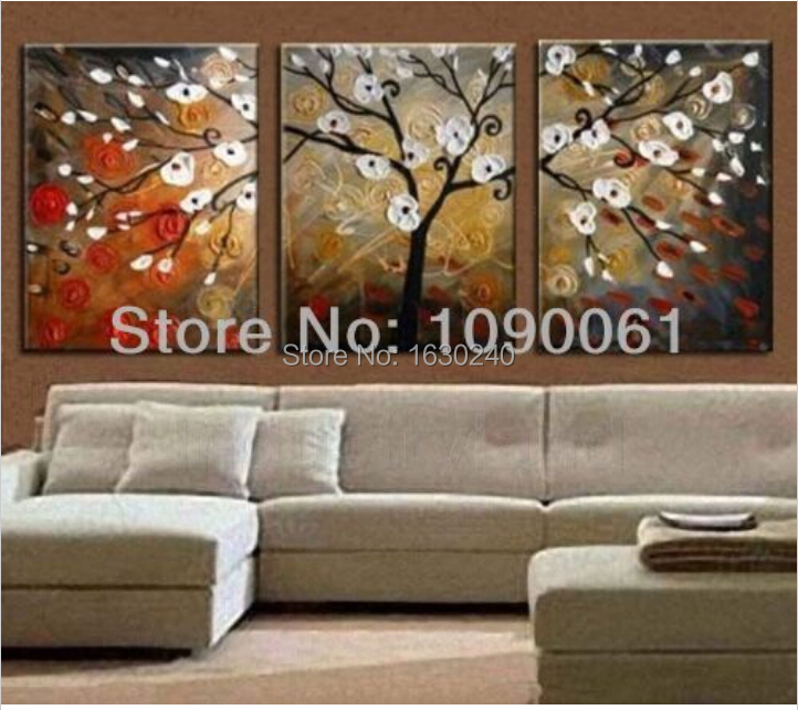 Hand Painted Abstract Tree Canvas Painting Flower Oil Picture 3 Panel Modern