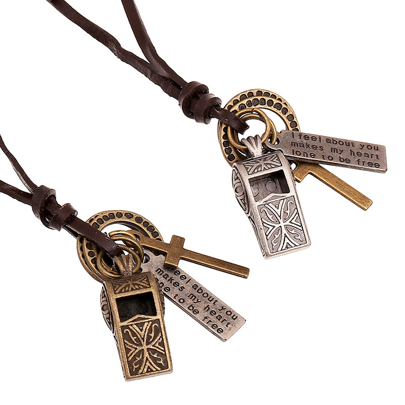 New Fashion European And American Retro Whistle Alloy Pendant Necklace, Adjustable Charm Leather Necklace For Men Women Jewelry(China (Mainland))