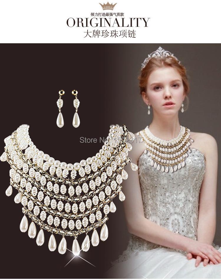 Жемчуг ювелирные изделия свадьба ожерелье вода волна серьги для женщины свадьба принцесса ожерелье