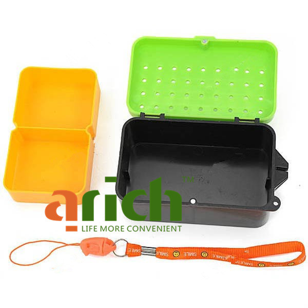 Plastic hot sale portable double layer worms maggots live for Fishing worm box