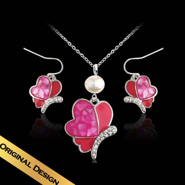 Special Necklace & Drop Earrings Jewelry Sets Shell Classic Sweet Design Free Shipping Butterfly Jewelry TZN04A03A