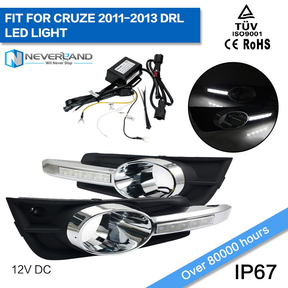 One Set Led Car DRL Daytime Running Lights Fog Lamp Cover for Chevrolet Cruze 2011 2012 2013 Super Bright D10<br><br>Aliexpress