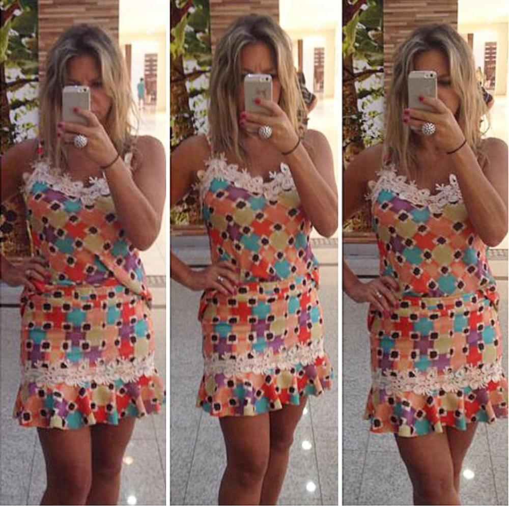 Sexy Off Shoulder Plaid Women Dress Stripless Rainbow Colorful Lace Mini Length Summer Casual Dress Printing American Apparel(China (Mainland))