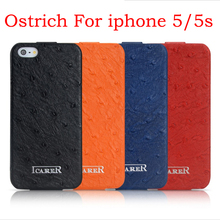 Ostrich pattern Real Genuine leather flip case for iphone 5 5S icarer brand free shipping MOQ 1pc wholesale discount price(China (Mainland))