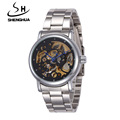 Shenhua brand Men s fashion casual steel automatic mechanical watch waterproof watch skeleton waterproof sports watch