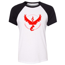 iDzn Summer T-shirt Pokemon Go Game Fans Moltres Team Red Team Art Pattern Raglan Short Sleeve Women T shirt Girl Sport Tee Tops
