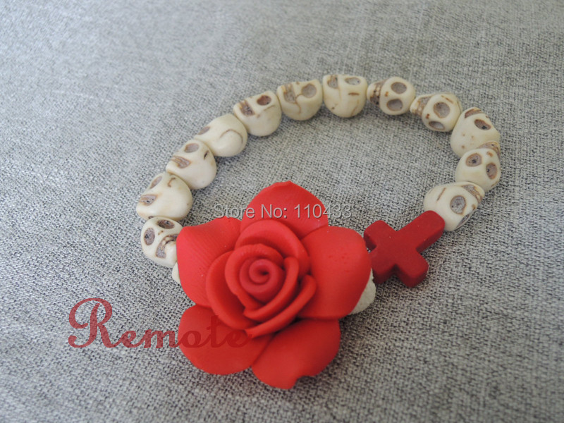 white color sugar skull with clay fimo big red rose  cross day of the dead bracelet, wedding jewelry  BF159<br><br>Aliexpress
