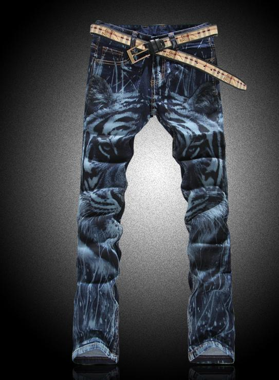 Фотография England blue Steller Painted Printing fashion true jeans men famous brand mens jeans pants skinny jeans men long trousers