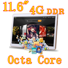 11.6 inch 8 core Octa Cores 1280X800 IPS DDR 4GB ram 32GB 8.0MP 3G Dual sim card Wcdma+GSM Tablet PC Tablets PCS Android4.4 7 9
